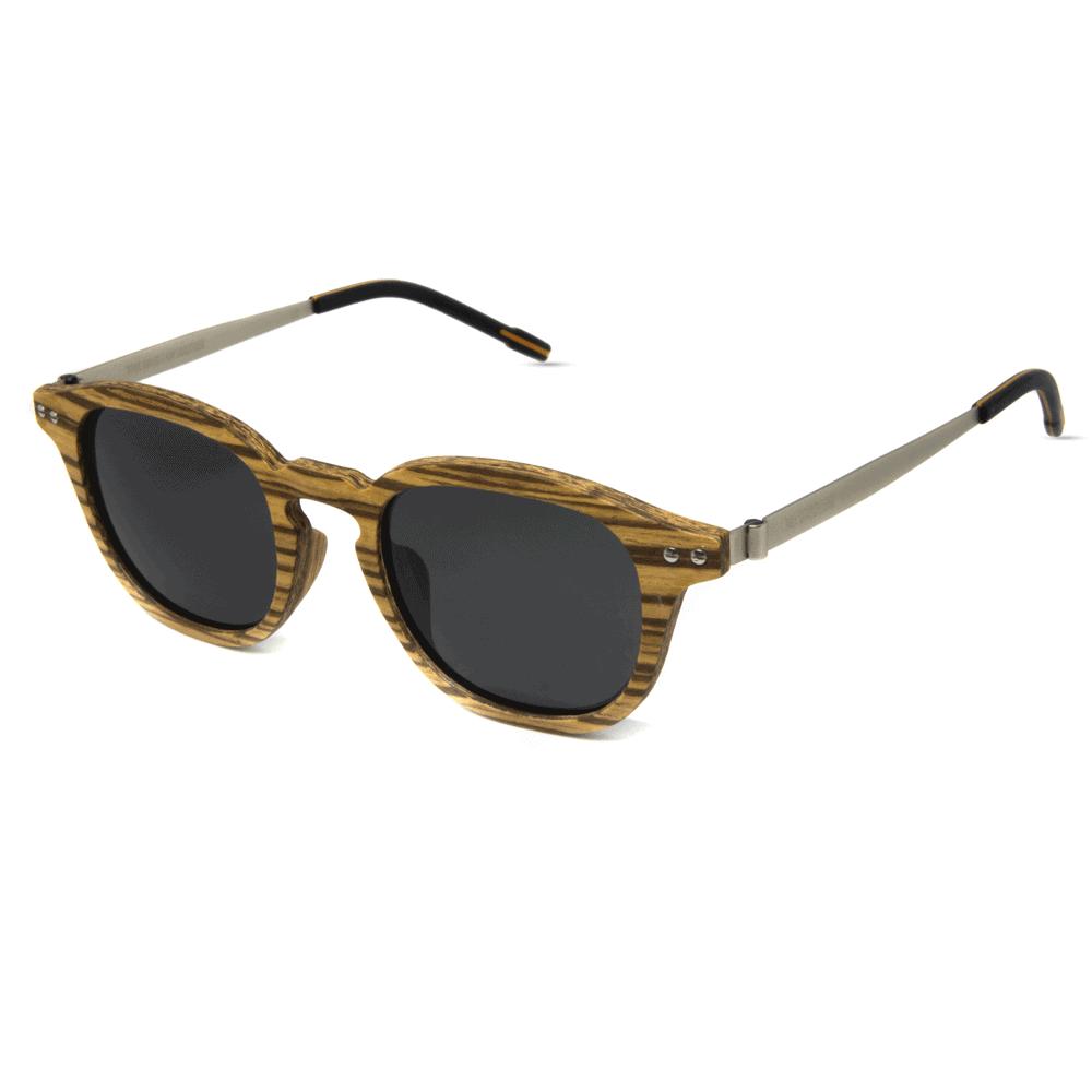 Flip Zebra Wood - Wooden and metal sunglasses - Mr. Woodini