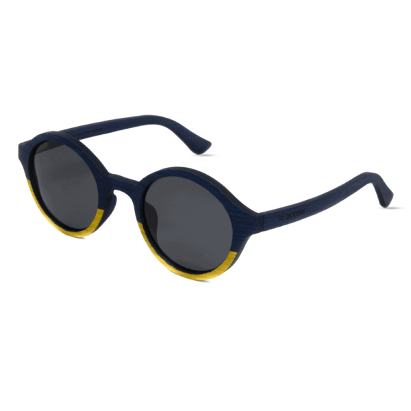 Arishima Blue and yellow wooden sunglasses
