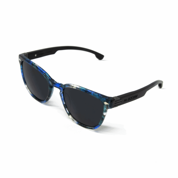 Oyster - Acetate Blue Aqua Texture sunglasses with wood temples