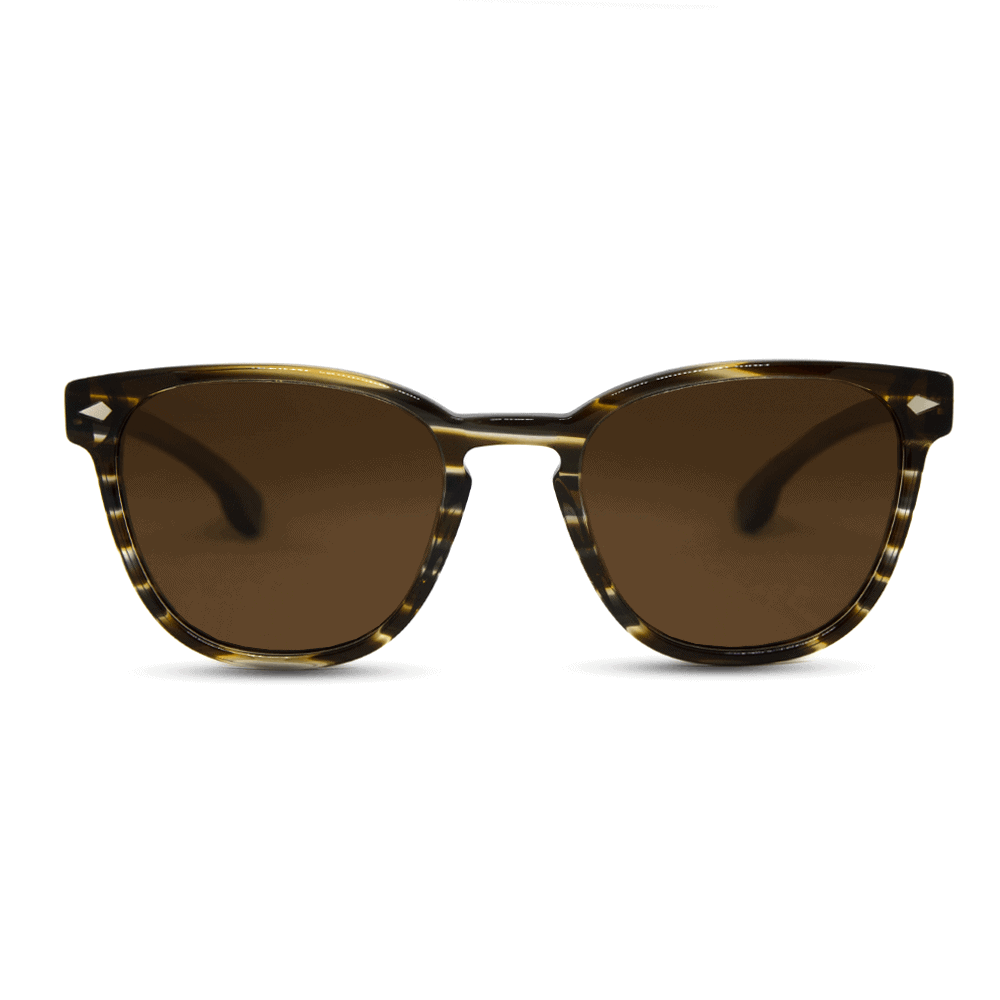 Oyster - Acetate Wave Brown Texture sunglasses with wood temples