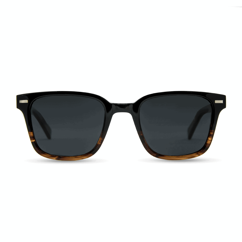 Toxic - Black Tortoise Acetate Sunglasses with wood temples